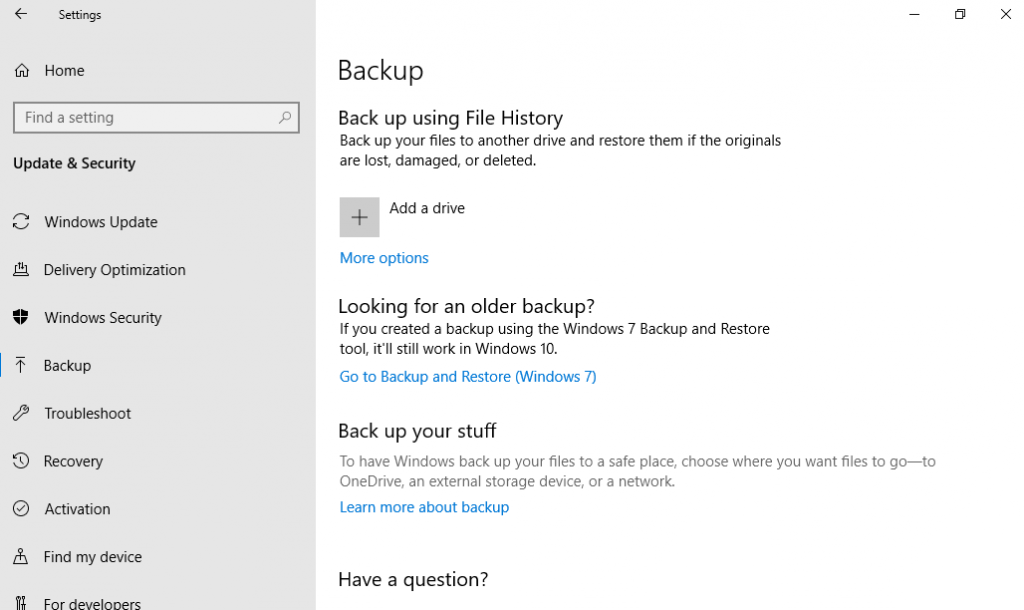 Windows 10 File History Backup