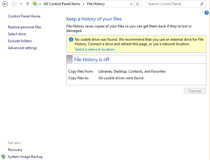 Windows 8.1 File History Backup